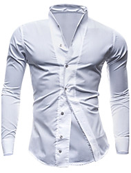 Men's Solid Casual / Work / Formal Shirt,Others Long Sleeve Black / Blue / White