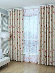 povoljno -Rod Pocket Grommet Top Tab Top Dvaput nabrane Dvije zavjese Prozor Liječenje Moderna, Print Crtani film Living Room Polyester Materijal