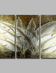 Dipinta a mano Floreale/BotanicalModern Tre Pannelli Tela Hang-Dipinto ad olio For Decorazioni per la casa