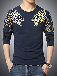 Men's Chinese Style Dragon Printed Long Sleeved T-Shirt