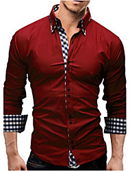 Men's Daily Casual Spring Fall Shirt,Solid Plaid Long Sleeves Polyester
