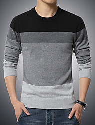 cheap -Men's Daily Plus Size Casual Regular Pullover,Color Block Round Neck Long Sleeves Cotton Polyester Winter Fall Medium Stretchy