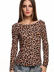 Tee-shirt Aux femmes,Léopard Décontracté / Quotidien simple Automne Manches Longues Col Arrondi Noir / Gris / Jaune Coton Fin