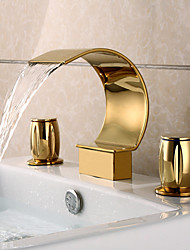 cheap -Luxury 3 Pieces Widespread Basin Waterfall Faucet Tap Gold Finish