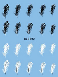 Water Transfer Printing Black And White Feather Nail Stickers