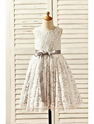 A-Line Tea Length Flower Girl Dress - Lace Satin Sleeveless Scoop Neck with Ribbon by thstylee