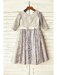 cheap -A-Line Knee Length Flower Girl Dress - Lace 3/4 Length Sleeve Scoop Neck with by