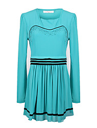 cheap -Women's Patchwork Blue / Red / Black / Brown / Orange / Yellow / Purple / Gray Blouse , Round Neck Long Sleeve