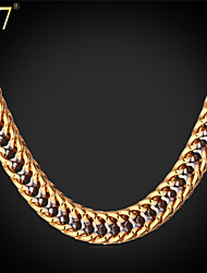 U7® Men's Gold Franco Chain Rock Band Jewelry Platinum/Gold Plated Unique Hip Hop Two-Tone Gold Chain Necklace