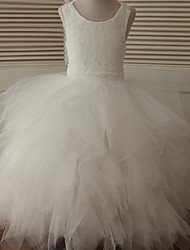 cheap -Ball Gown Ankle Length Flower Girl Dress - Lace Tulle Sleeveless Scoop Neck with Cascading Ruffles by LAN TING BRIDE®