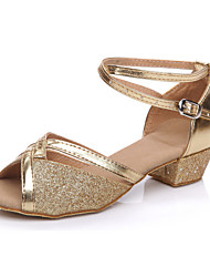 cheap -Women's Latin Shoes / Ballroom Shoes Flocking Flat / Sandal Professional / Beginner / Practice Sequin Low Heel Non Customizable Dance
