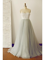 cheap -A-Line Strapless Sweep / Brush Train Lace Tulle Prom Formal Evening Dress with Lace by Thstylee
