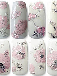 cheap -1PCS 3D Nail Decal Stickers Embossed Pink Flower