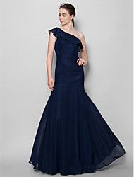 cheap -Fit & Flare One Shoulder Floor Length Chiffon Bridesmaid Dress with Pleats by LAN TING BRIDE®