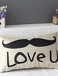 50cm*30cm Beard Love You Cotton / Linen Cotton&linen Waist Pillow Cover / Throw Pillow With No Insert