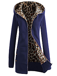 Women's Maternity Daily Casual Hoodie Jacket Solid Leopard Hooded Polyester Long Sleeve Winter