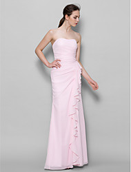 cheap -Sheath / Column Sweetheart Floor Length Chiffon Bridesmaid Dress with Cascading Ruffles by LAN TING BRIDE®