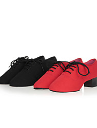 cheap -Women's Dance Shoes Belly / Latin / Jazz / Dance Sneakers / Samba Canvas / Synthetic Chunky Heel Black / Red /