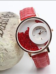 Недорогие -Geneve женская кожаная полоса аналогового кварцевого случайные часы (ассорти цветов)