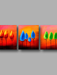 cheap -Hand-Painted Oil Painting on Canvas Wall Art Contempory Abstract Trees Sunrise Home Deco Three Panel Ready to Hang