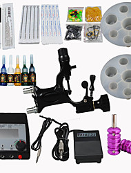 cheap -Tattoo Machine Starter Kit - 1 pcs Tattoo Machines with 7 x 5 ml tattoo inks LED power supply Case Not Included 1 alloy machine liner & shader