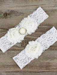 2pcs/set White Satin Lace Chiffon Beading Wedding Garter