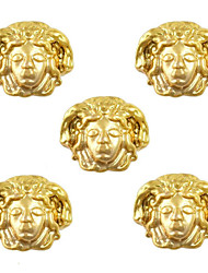 10pcs Medusa Image Egypt Theme 3D Gold Nail Art Alloy 7mm x 9mm
