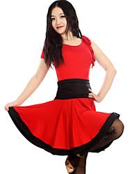 abordables -Danse latine Robes et Jupes Femme Spectacle Entraînement Chinlon Elasthanne Polyester Au drapée 1 Pièce Sans manche Robe