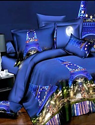Duvet Cover Set, 4 Piece Suit Comfort Simple Modern Printed 3D Pattern Paris night view, Blue
