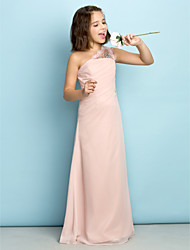 Princess One Shoulder Floor Length Chiffon Junior Bridesmaid Dress with Crystal Detailing Side Draping by LAN TING BRIDE®