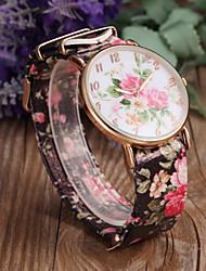 cheap -Women's Quartz Wrist Watch Casual Watch PU Band Flower Fashion Black White Green Pink Purple Multi-Colored