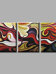 cheap -Ready to Hang Stretched Hand-Painted Oil Painting on Canvas Wall Art Contempory Abstract Brown Dark Three Panel