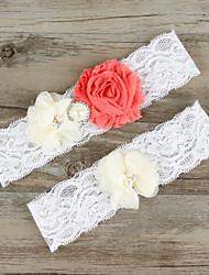 Недорогие -Шифон Кружева Сатин Мода Свадебный подвязка  -  Кружева Цветы Подвязки