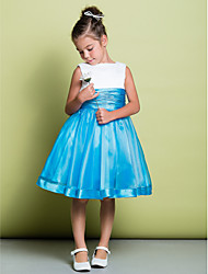 cheap -A-Line Knee Length Flower Girl Dress - Organza / Satin Sleeveless Square Neck with Ruched by LAN TING BRIDE®