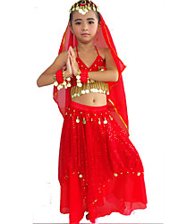 cheap -Belly Dance Outfits Performance Polyester Spandex Beading Gold Coin Paillette Skirt Bra Bracelets Headwear