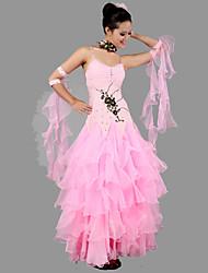 baratos -Dança de Salão Roupa Mulheres Espetáculo Elastano / Crepe Apliques / Franzido / Cristal / Strass Sem Manga Vestido / Neckwear / Braceletes