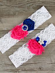 2pcs/set Fuchsia And Dark Blue Satin Lace Chiffon Beading Wedding Garter