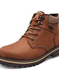 baratos -Homens sapatos Couro de Gado Couro Primavera Outono Inverno Tênis com Rodinhas Conforto Botas 5,08 a 10,16 cm Botas Curtas / Ankle Cadarço