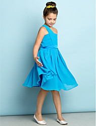 cheap -A-Line One Shoulder Knee Length Chiffon Junior Bridesmaid Dress with Side Draping by LAN TING BRIDE®