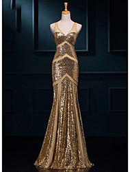 cheap -Mermaid / Trumpet V-neck Floor Length Sequined Formal Evening Dress with Sequins by Luoge