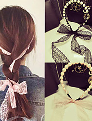 cheap -South Korea's Aristocratic Wind Pearl Lace Bowknot Ribbon Bind Hair Band