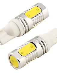 2PCS T10 8W 800lm 4-COB LED 6000K White Light LED Car Bulb Light (DC 12V)