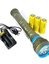 3 LED Flashlights/Torch LED 10800 Lumens 3 Mode Cree XM-L2 Yes Impact Resistant Rechargeable Waterproof Strike Bezel Tactical Emergency