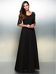 A-Line Scoop Neck Floor Length Chiffon Lace Formal Evening Dress with Lace by TS Couture®
