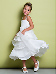 cheap -A-Line Tea Length Flower Girl Dress - Organza Taffeta Sleeveless Straps with Sash / Ribbon Pleats Ruffles by LAN TING BRIDE®