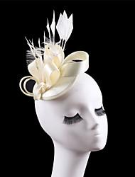 Women Satin Feather Fascinator Hats for Wedding Party Church Beige Black