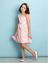 cheap -A-line Knee-length One Shoulder Junior Bridesmaid Dress Mini Me Sleeveless Lace by LAN TING BRIDE®
