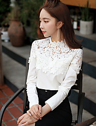 cheap -DABUWAWA Women's Lace Casual Lace Stand Slim Long Sleeve Tops & Blouses