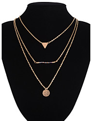 cheap -Women's Triangle Geometric Beaded Multi Layer Pendant Necklace Layered Necklace Alloy Pendant Necklace Layered Necklace , Wedding Party