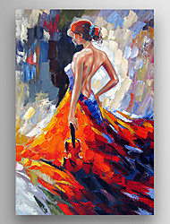 cheap -Oil Painting a Woman with a  Guitar in her hand Hand Painted Canvas with Stretched Framed